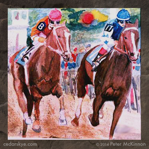 Water color painting of race horses